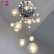 Youlaike Luxury Modern Chandelier Lighting Large Staircase LED Crystal Light Fixtures Polished Steel Hanging Lustre Cristal