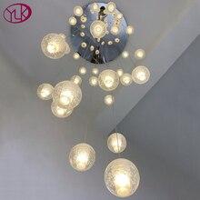 Youlaike Sang Trọng Hiện Đại Đèn Chùm Đèn Cầu Thang Lớn Đèn LED Đèn Thép Đánh Bóng Treo Lustre Cristal