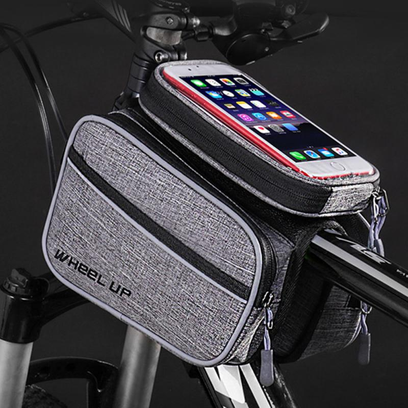 WHEEL UP Bike Bicycle Bag Mobile Phone Bag Front Frame Top Tube Cycling Bicycle Bag Large Capacity Waterproof Pouch Panniers