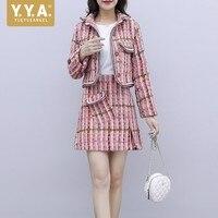 Fashion Women Pink Plaid Tweed Two Piece Set Elegant Ladies Office Work Slim Fit Suit Matching Sets Mini Skirt Jacket Outfits