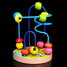 Free shipping, infant wooden toys, educational diy toys, color cartoon of mini round bead