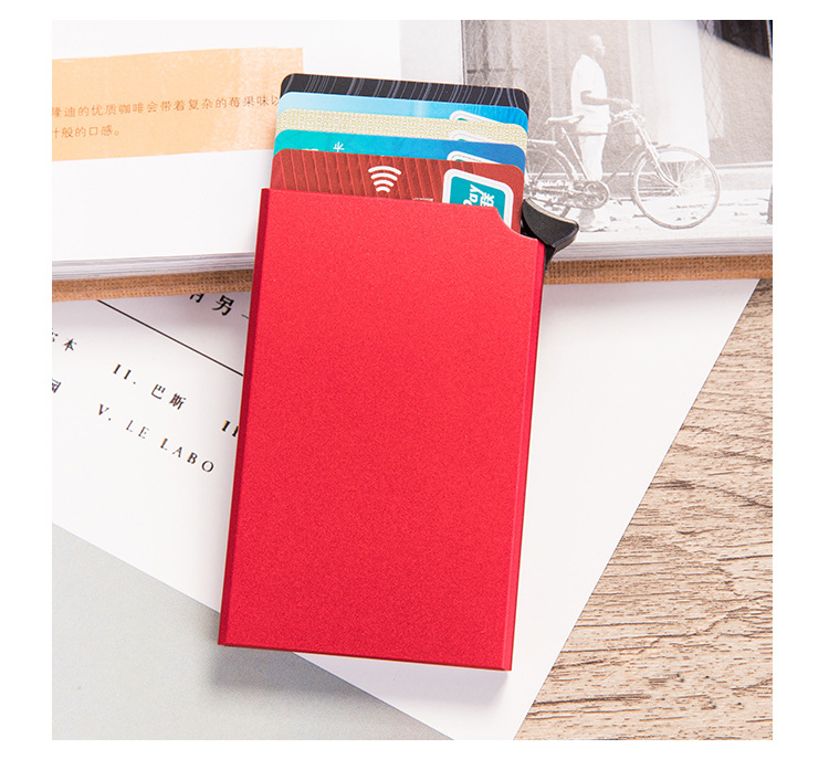 Ha14a1b457fa74239a6ecc1b1352cc8ca9 - RFID Anti-theft Smart Wallet Thin ID Card Holder Unisex Automatically Solid Metal Bank Credit Card Holder Business Mini