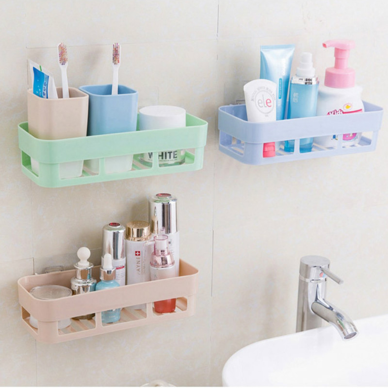 Permalink to Punch-free bathroom shelf plastic toilet bathroom vanity wall hanging bathroom storage rack basket no trace stickers ZSP2144