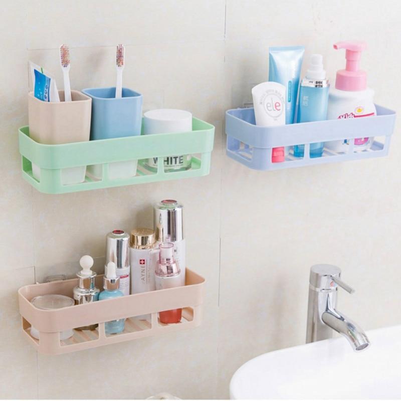Punch-free bathroom shelf plastic toilet bathroom vanity wall hanging bathroom storage rack basket no trace stickers ZSP2144