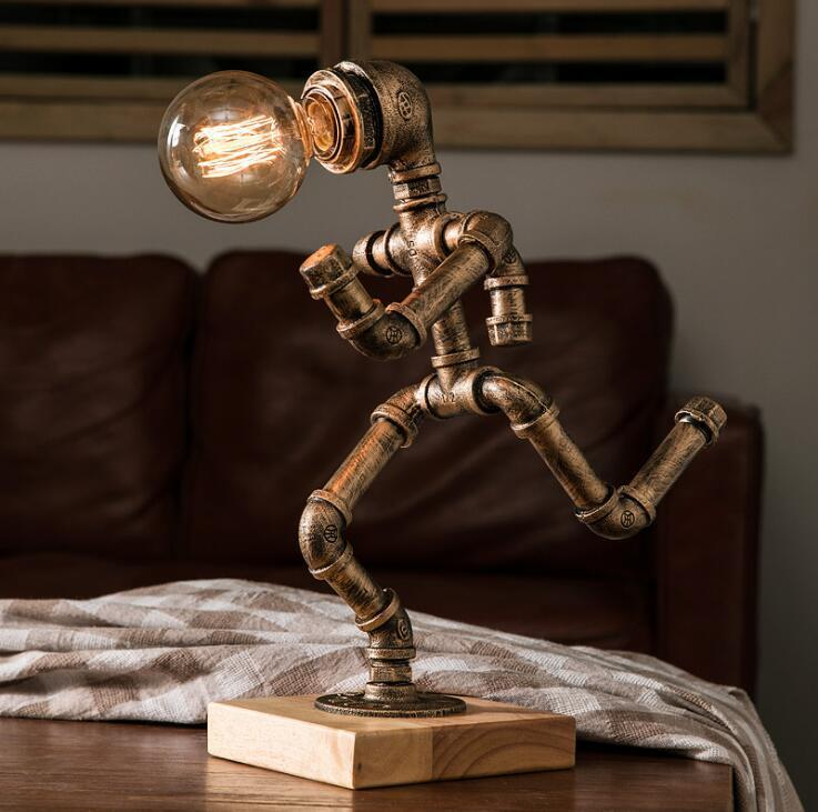 American style personalized cafe bar industry antique robot retro water tube dimmable night light table lamp|Table Lamps| |  - title=