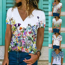 Fashion Printed T Shirt Summer V Neck Casual Loose Short Sleeve Top Large Size Women