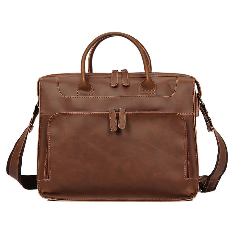 Men's Briefcase Handbag Pu Leather Messenger Travel Bag Business Men Bags Tote Man Casual Crossbody Briefcases