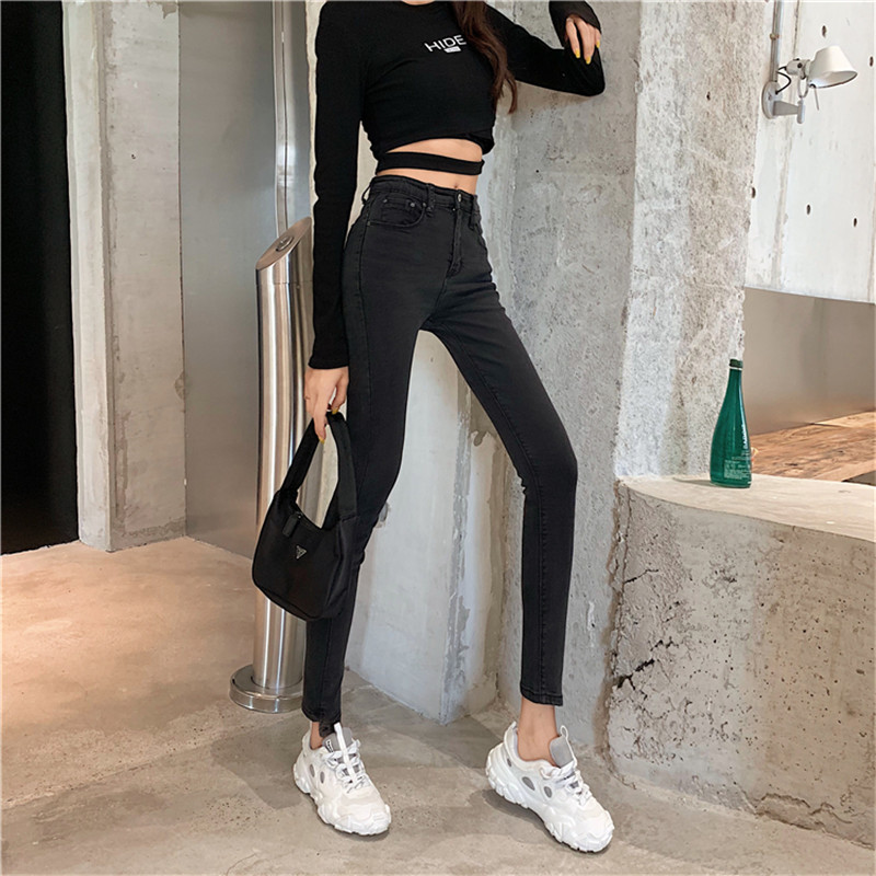 Real Shot 2020 New Fashion Korean Retro Solid Color High Waist Jeans Women's Slim Stretch Pencil Pants