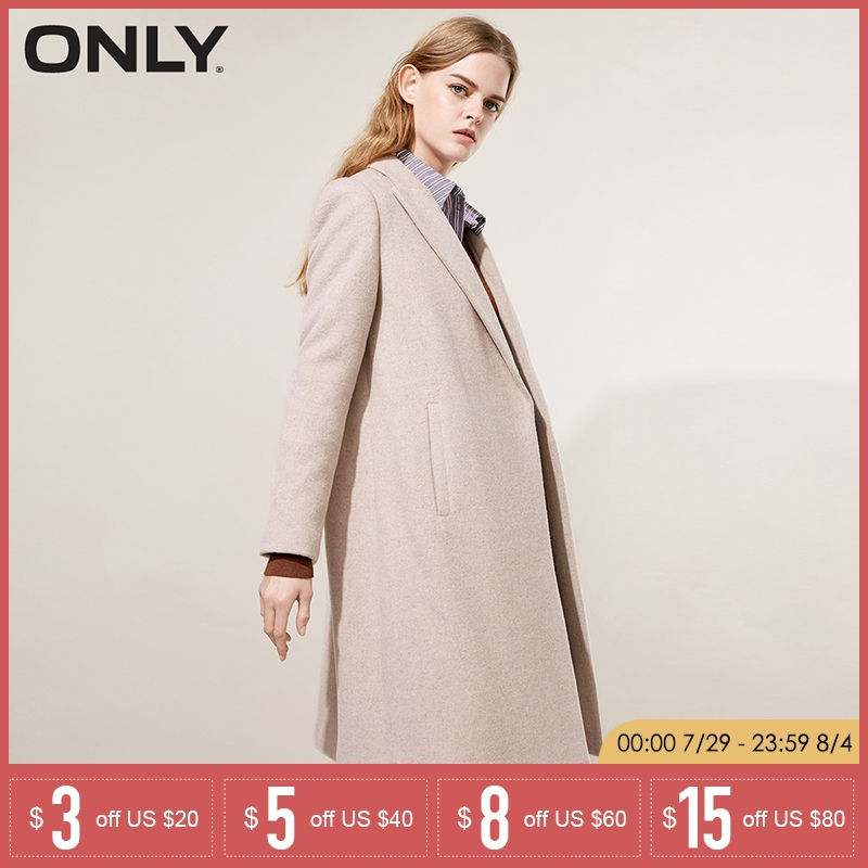 ONLY 2019 Autumn Winter New Women Wool Coat Double breasted Woolen Coat 118427502