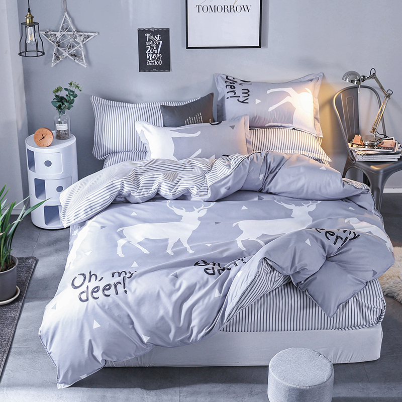 Oh My Deer Print Light Grey Bed Sheets