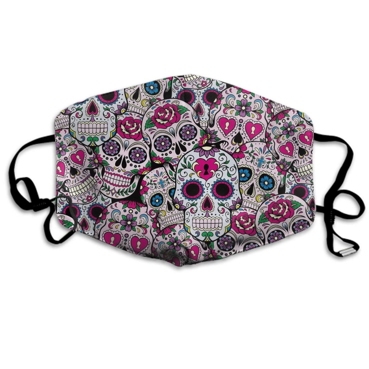 Comfortable Two Layer Dust Mask, Soft Mexican Sugar Skull Pattern Face Mask Cover Mouth For Adults And Teens