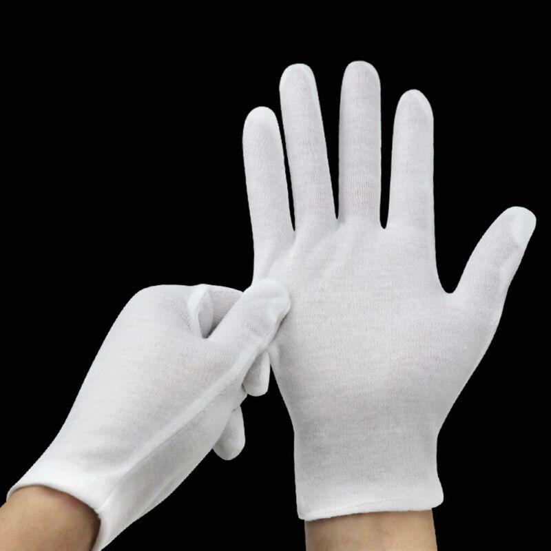 12 Pares/120 Pares Unissex Branco Médio Grosso Limpo Luvas De Trabalho De Algodão Branco Luvas Femininas