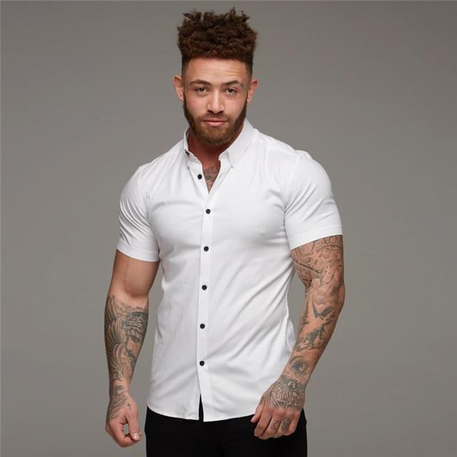 2021 Men's Summer Fashion Casual Shirts Man Solid Short Sleeve Men Cardigan Shirt Mens Tops Undershirt 5