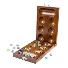 Mancala katlanır masa oyunu ile taşlar seyahat bulmaca oyunu çocuklar için