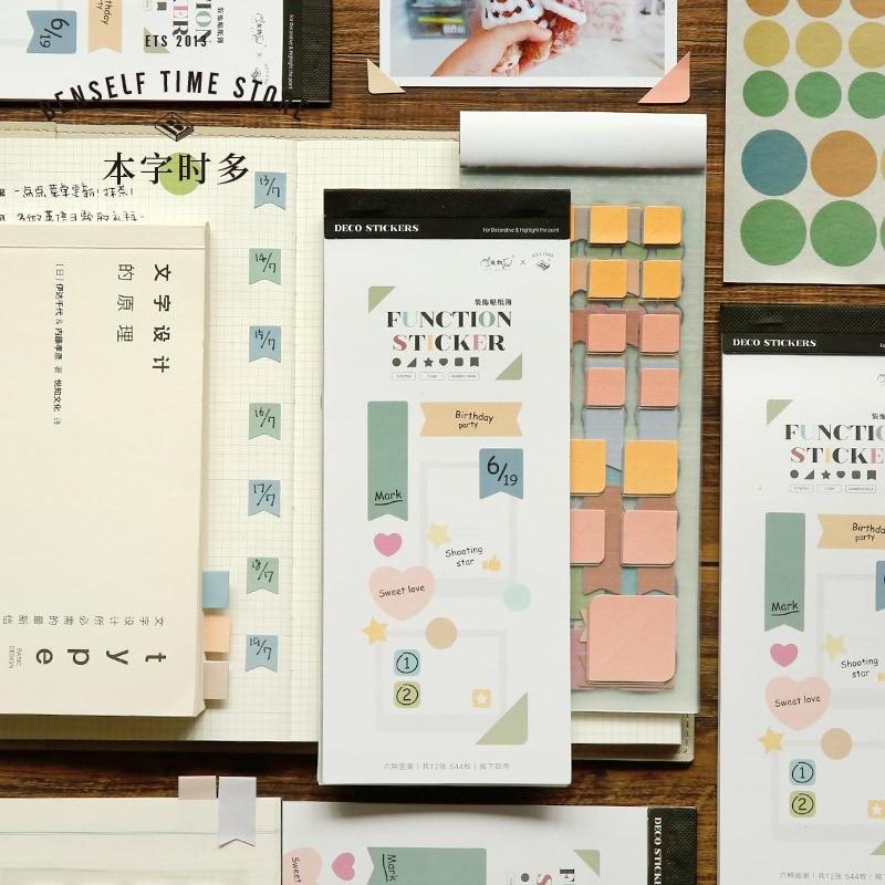 12 folhas/conjunto mullti-função índice cor tag bloco de memorando notas pegajosas para fazer lista adesivos bloco de notas de papel conjunto de papelaria coreano