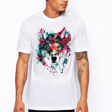 Mens Cool Design High Quality Tops Hipster Custom Tee Shirt 2018 Sunday New Summer Fashion Colorful Wolf Print T