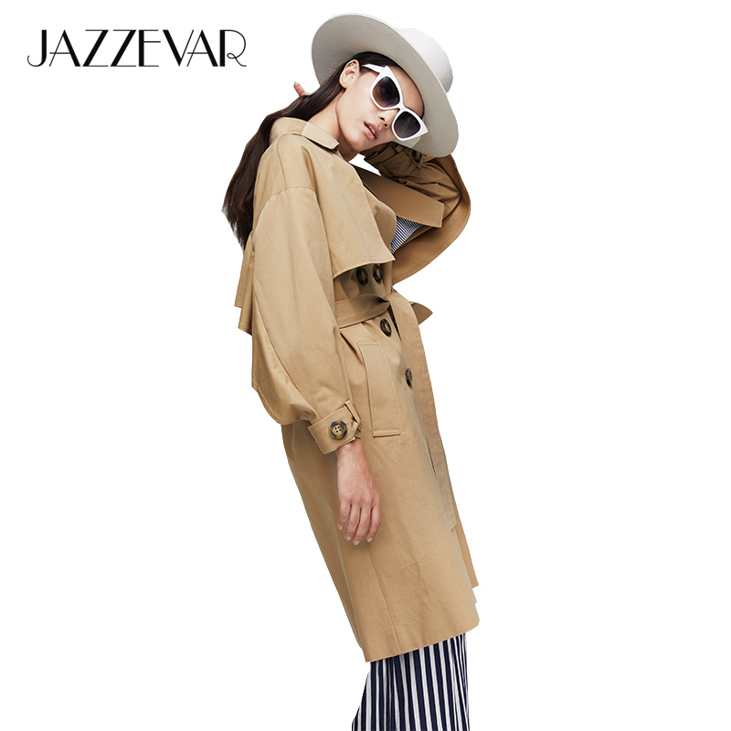 JAZZEVAR 2019 New Arrival Autumn Khaki Trench Coat Women Casual Long Outerwear High Quality Cotton With Belt Fashion Women 9009