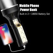 Linterna LED de XLM T6 recargable con USB y batería integrada, linterna portátil para caza, 2x18650