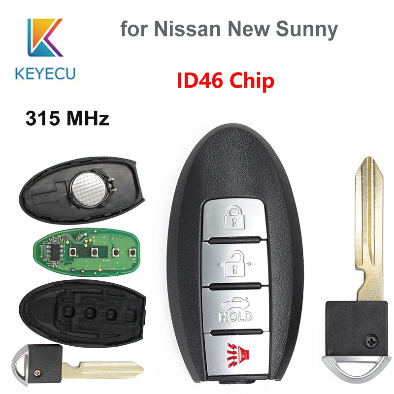 KEYECU 4 Buttons Keyless Entry Smart <font><b>Remote</b></font> <font><b>Key</b></font> Fob 3+1 Buttons <font><b>315MHz</b></font> <font><b>with</b></font> ID46 Chip for <font><b>Nissan</b></font> New <font><b>Sunny</b></font> image