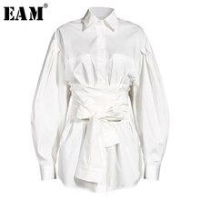 [EAM] Women White Bandage Split Temperament Blouse New Lapel Long Sleeve Loose Fit Shirt Fashion Tide Spring Summer 2021 1Y333