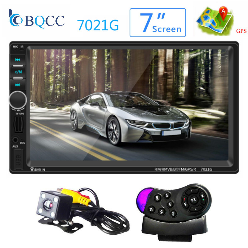 2 Din Car <font><b>MP5</b></font> Player <font><b>7021G</b></font> 7 inch Touch Screen 1080P GPS Navigation Bluetooth FM Stereo Audio With Rear View Camera image