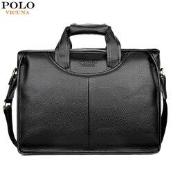 Vicuña POLO diseño clásico maletín de cuero de gran tamaño para hombre bolso de negocios Casual para hombre maletín de oficina
