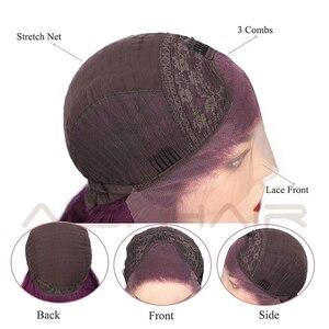 Image 5 - AISI saç siyah uzun dalgalı peruk sentetik dantel ön peruk siyah kadınlar için doğal kısmı ısıya dayanıklı iplik peruk