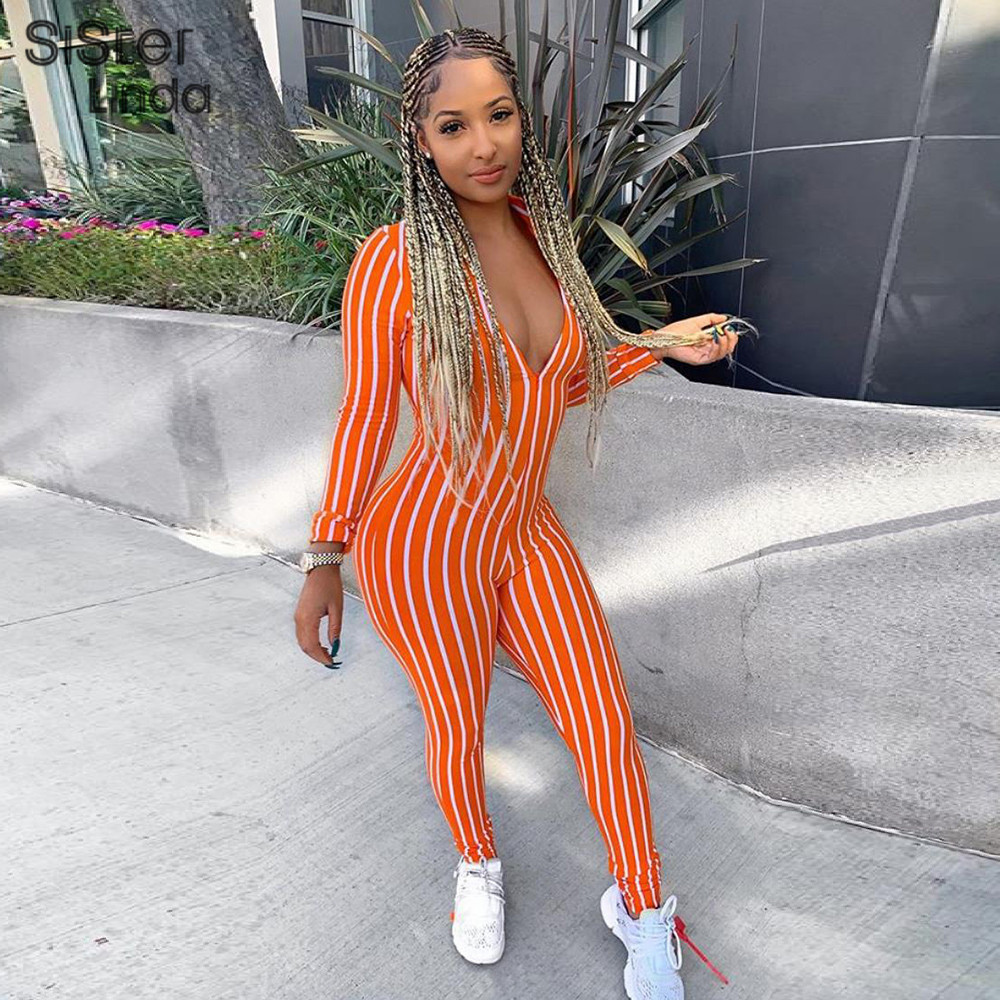 Sisterlinda Zipper Striped V-neck Sexy Jumpsuits Women Full Sleeve Fitness Rompers Womens Jumpsuit Bodycon Fashion Skinny Romper