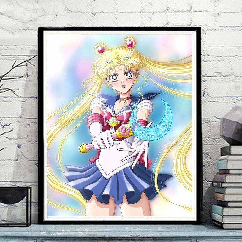 5D Character Diamond Painting Cartoon Gril Moon Full Drill Cross Stitch DIY Home Decoration