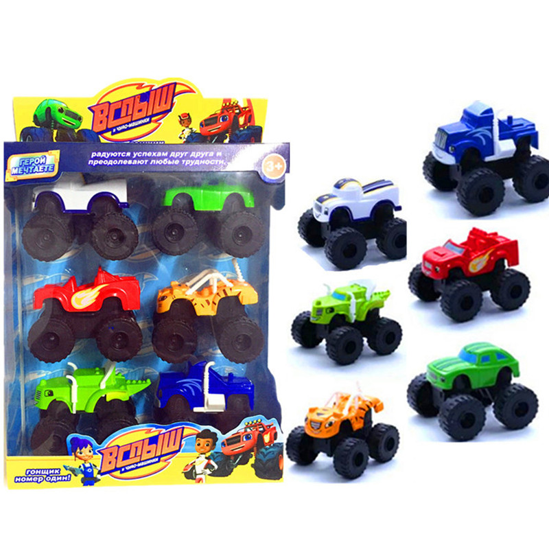 6pcs/Set Blazed Machines Car Toys Russian Miracle Crusher Truck Vehicles Figure Blazed ToysWith Original Box Best Gifts For Kids