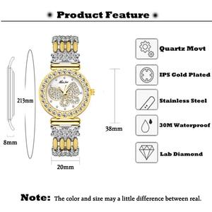 Image 2 - MISSFOX Butterfly Women Watches Luxury Brand Big Diamond 18K Gold Watch Waterproof Special Bracelet Expensive Ladies Wrist Watch