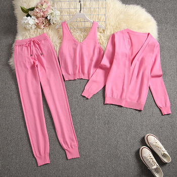 ALPHALMODA Spring Candy Color Knitted Cardigans + Camisole + Pants 3pcs Fashion Suit Women Seasonal Stylish Clothes Set 22