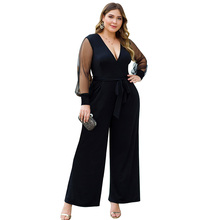 4XL Women Black Loose Jumpsuit Sexy Deep V-Neck Plus Size Mesh Long Sleeve Autumn Female Elegant Streetwear 30