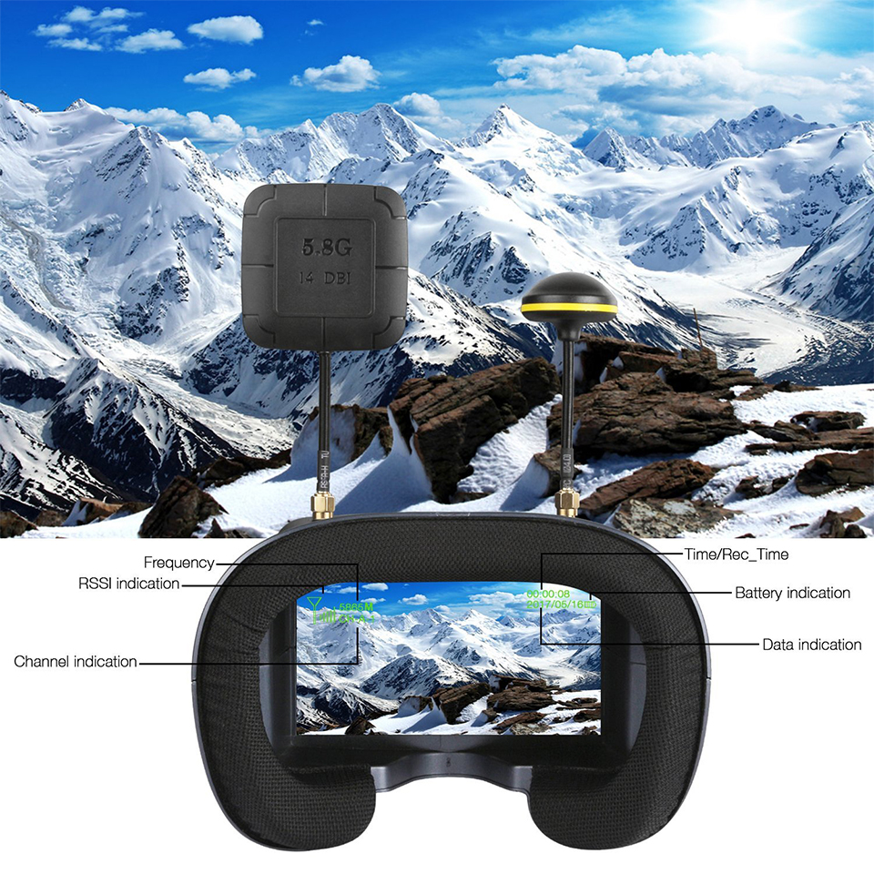 LS-800D VR FPV Goggles 5.8G 40CH Receiver 4.3 Inch Monitor 16:9 w/ DVR Auto-searching 2000mAh Battery for Quadcopter Airplane