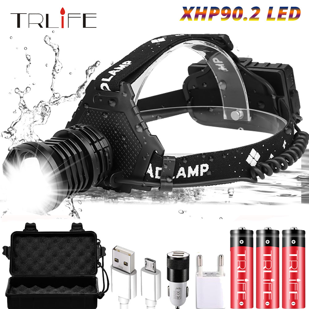 XHP90.2 Led Headlamp Headlight The Most Powerful 40W 8000LUMS XHP50 Head Lamp Zoom Power Bank 7800mAh 18650 Battery For Camping