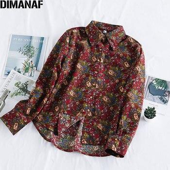DIMANAF Spring Summer Plus Size Women Blouse Shirt Vinatge Elegant Lady Tops Tunic Casual Loose Print Floral Long Sleeve Clothes цена 2017