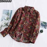 Dimanaf primavera verão plus size blusa feminina camisa vinatge elegante senhora topos túnica casual solto impressão floral manga longa roupas