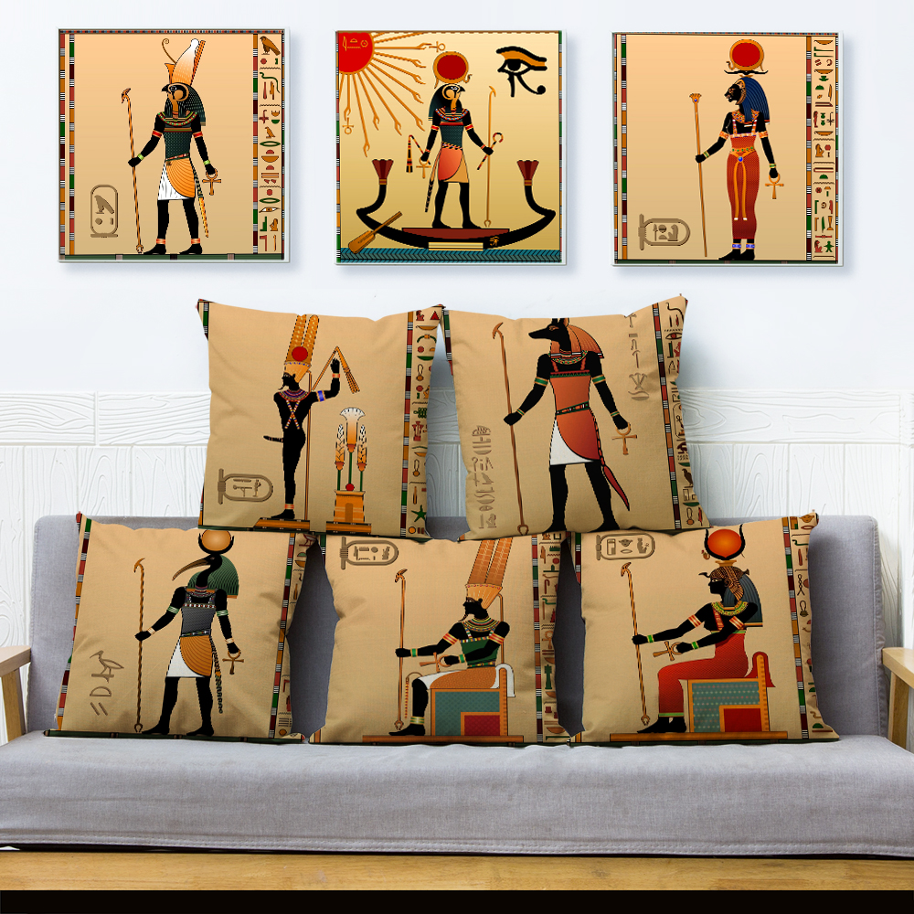 Ancient Egypt Totem Pharaoh Print Cushion Cover Beige Linen Pillowcase 45*45cm Pillows Covers Sofa Home Decor Pillow Case