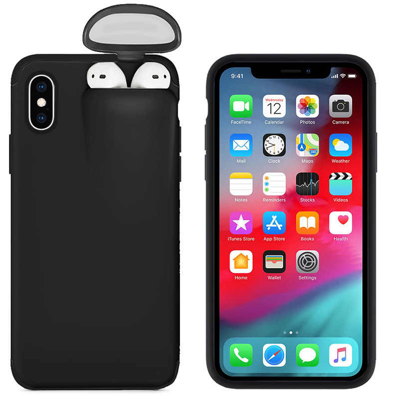 Untuk iPhone SE 2020 11 11 Pro Max Case XS Max XR X 8 7 6 6 S Plus Cover untuk Apple Udara Pods Earphone Pemegang Hard Case Dropshipping