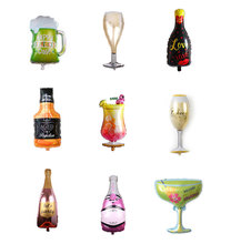 Wine Bottle Glass Foil Balloons Happy Birthday Party Decoration Home Party Balloons Wedding Balloons Decoration Party Supplies oh baby balloons for party decoration heart foil balloons decoration pd 143