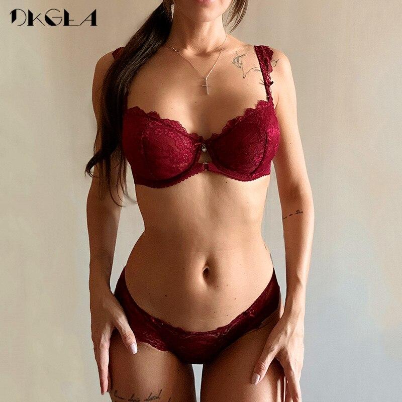 2019 New Lace Bra Set Transparent Plus Size C D Cup Underwear Women Ultrathin Sexy Lingerie Set Black Brand Bra And Panty Set