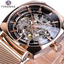 Forsining Rose Gold Men Automatic Watch Business Square Transparent Steel Slim Mesh Belt Unisex Mechanical Wrist Watches Relogio