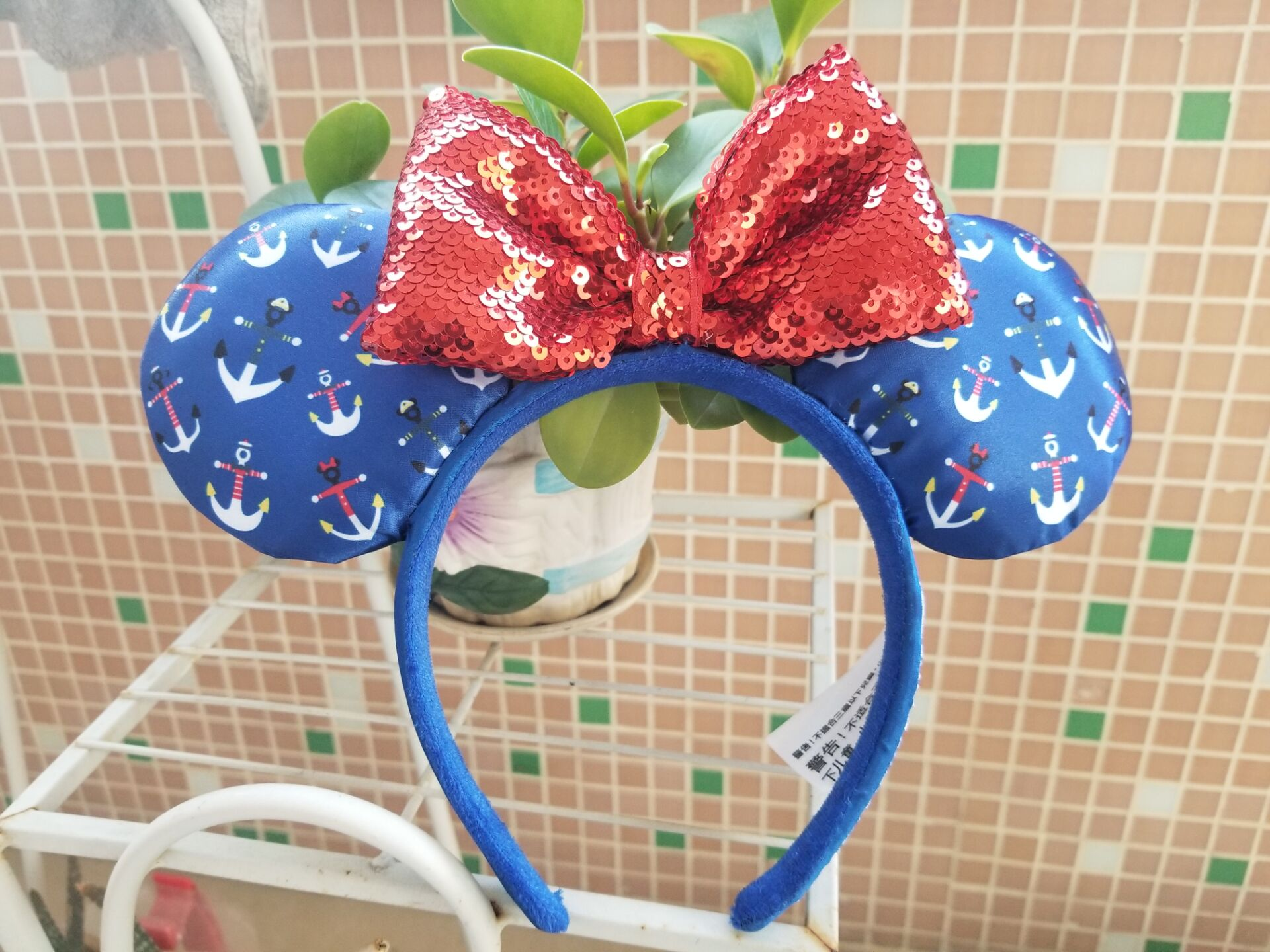 New Parks Cruise Line Anchor Ears Blue Red Headband Mickey Minnie