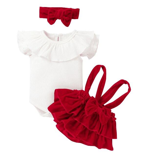 Комплект из трех предметов для новорожденных девочек, комбинезон в рубчик с летающим рукавом и оборками, бархатная юбка с подтяжками, повяз...