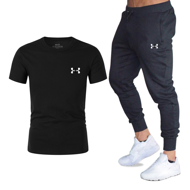 2020 Hot new T Shirt+Pants Sets Men Letter Printed Men Tracksuits Brand Clothing Tops Tees