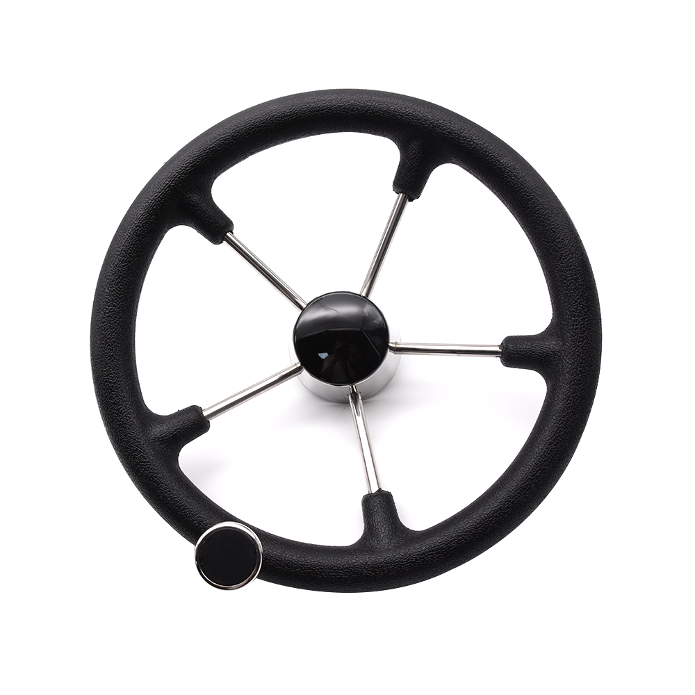 Boat Accessories Marine Stainless Steel 5 Spoke Destroyer Steering Wheel with Black Foam Grip and Knob For Boat Yacht Hardware