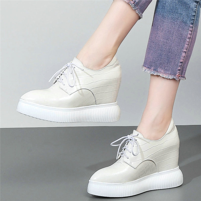 Women Pointed Toe High Wedge Heel Sneakers Platform Lace Up Tennis Running Shoes