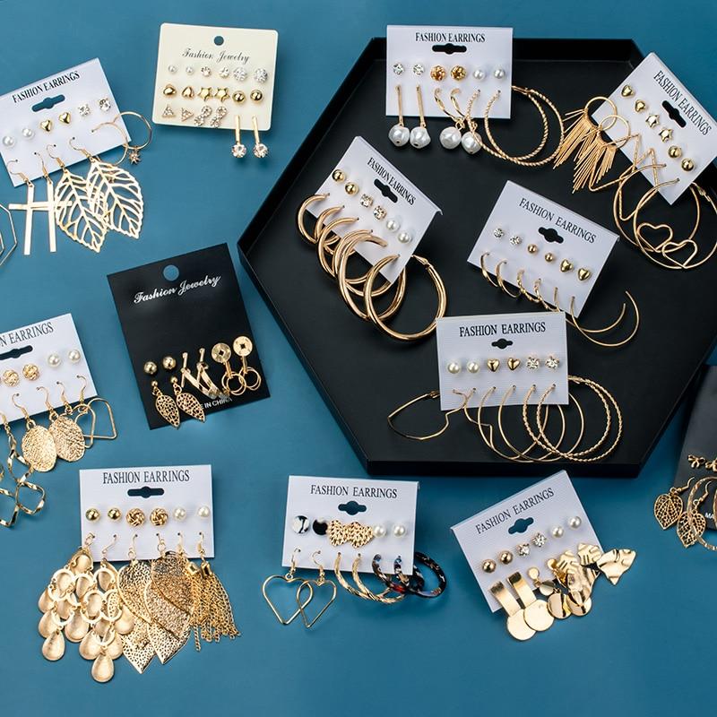 BLINLA Fashion Vintage Geometric Round Earrings Set Hollow Metal Earrings For Women Bohemian Leaves Tassel Long Earring Jewelry