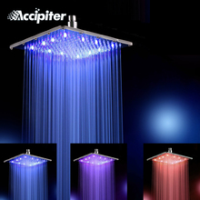 12 Inch Water Powered Rainfall Led Shower Head.Bathroom 30cm*30cm 3 Colors Change Led Showerhead Without Shower Arm.Chuveiro Led