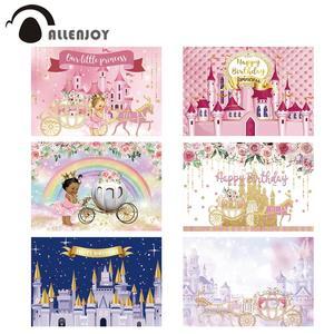 Image 1 - Allenjoy黄金城王女背景カボチャの馬車花誕生日背景写真ゾーン写真撮影小道具バナー